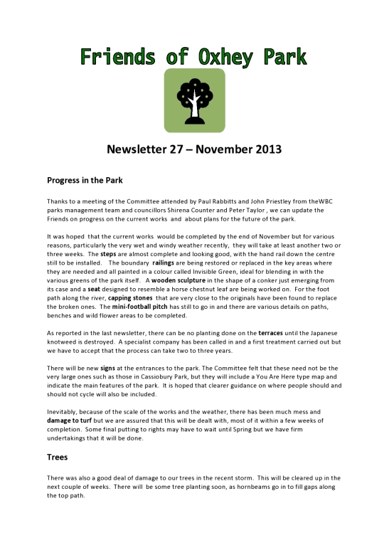 FoOP Newsletter Nov 2013 p1