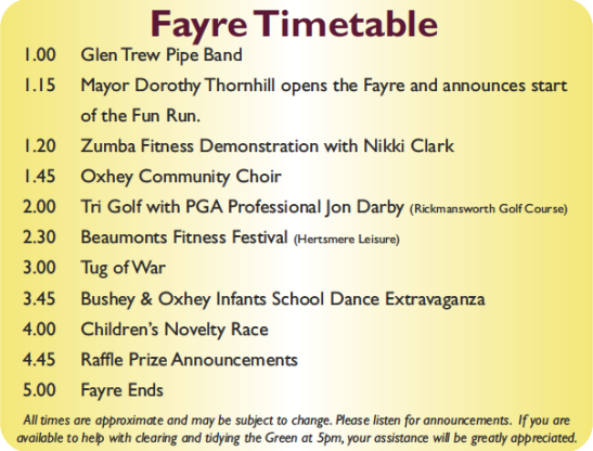 Fayre Timetable