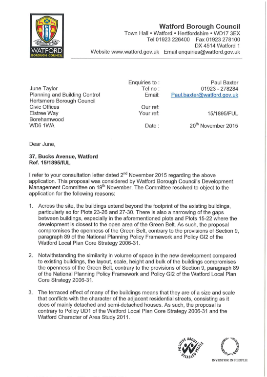 Bucks Meadow WBC Letter to Hertsmere01.png
